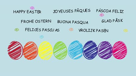 desenli : Happy Easter - Funny animated hand drawn easter eggs Which are wishing you Happy Easter in different languages - sequence, alpha channel included