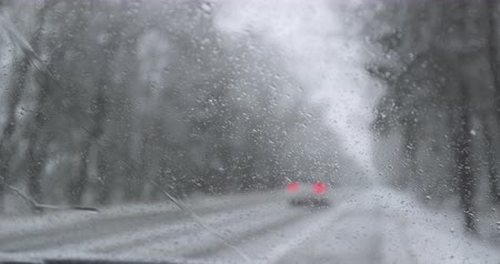 Winter driving - standing on the emergengy lane - POV shot - hand held camera - shallow depth of field - ProRes