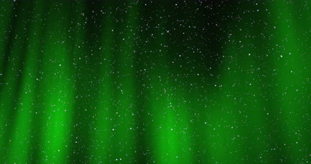 Seamless looping video - beautiful aurora light phenomenon in a night sky with twinkling stars - digitally generated video - ProRes