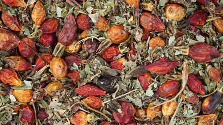 rosehips : dried rosehips and leaves