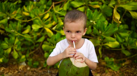 boy of two years sings coconut juice on the beach.