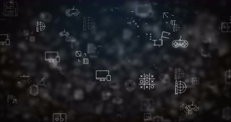 Loop moved video game icons background Stock Footage