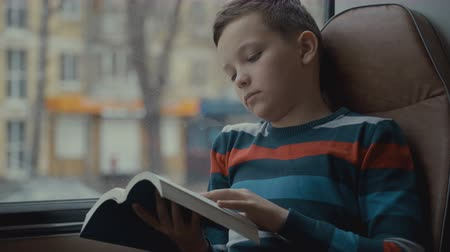 alfabetização : close-up shot of a young schoolboy traveling by bus through city and reads a book.