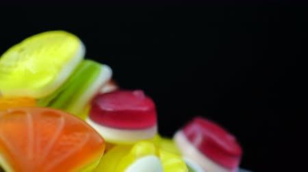 marmelada : Footage of bright tasty colourful marmalade jelly candies rotate