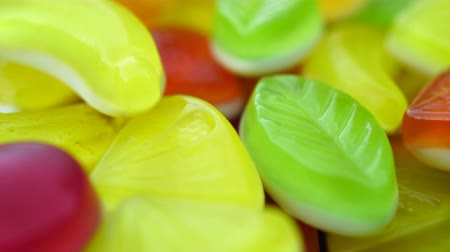 colorful candy : Footage of bright tasty colourful marmalade jelly candies rotate. Stock Footage