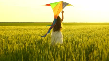detém : girl running around with a kite on the field.
