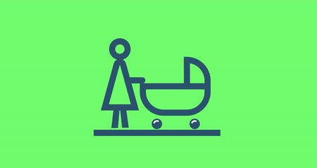troli : animation pictogram mother with baby stroller Stock mozgókép