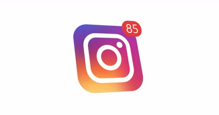 apple sign : Samara, Russian Federation - August 1, 2018: Editorial animation. Instagram logo icon with counter likes, followers. Instagram most popular social network for the placement of photos and video