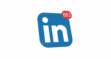 nomeação : Samara, Russian Federation - August 6, 2018: Editorial animation. Linkedin logo icon with counter likes, followers. Linkedin most popular business oriented social network. Stock Footage