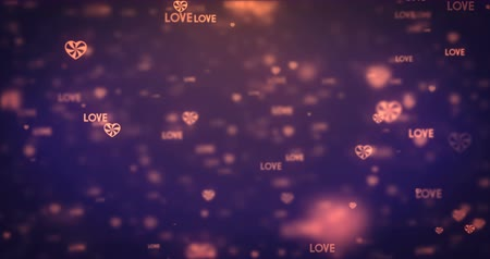 valentine : Loopable animation modern moving orange heart icons background. Stock Footage