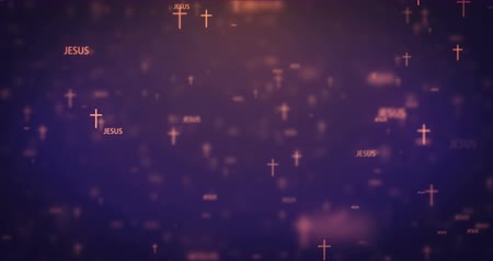 baptism : Loopable animation modern moving orange church icons background. Stock Footage