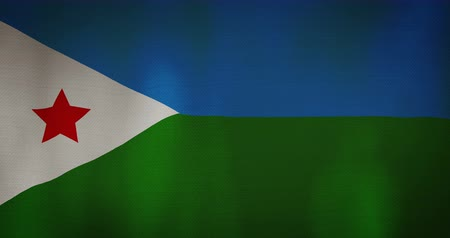 silvery : Djibouti flag fabric texture waving in the wind