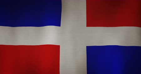 cumhuriyet : Dominican republic flag fabric texture waving in the wind. Stok Video