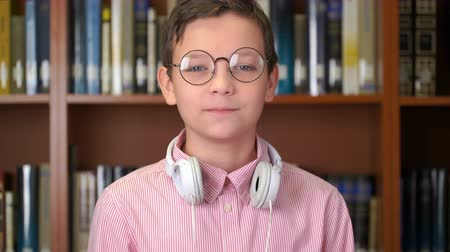 portrait shot of the cute schoolboy standing near the bookshelf in the library