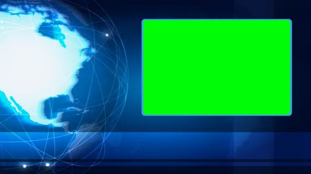 globalização : News style blue loopy footage with spinning Earth and green screen area Stock Footage
