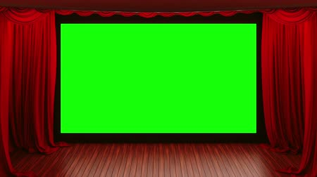 perdeler : Opening red cinema theatre curtains.  curtains open to reveal a screen in 16*9 aspect ratio. The Alpha Channel is included.