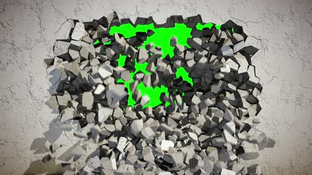 zeď : Demolition of a Concrete Wall with Green Background.