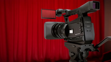 színpad : Camera in theater with red curtains