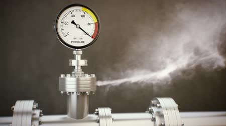 rozchod : Gas or steam leaking from an industrial pressure gauge. HD 3d Render.
