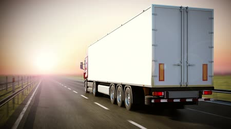 auto estrada : Logistics - Trucking. Back view.  High quality 3d animation. Loopable Vídeos