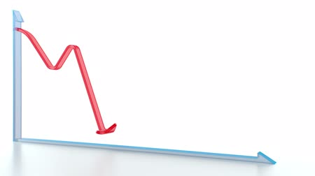 aşağı : Red arrow falling. Downtrend. Concept of recession, financial downturn, depression, failure, economic crisis.