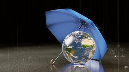 ortam : Umbrella Protecting The Planet Earth Environment conceptual. Two variants: with countries flags and realistic earth Stok Video