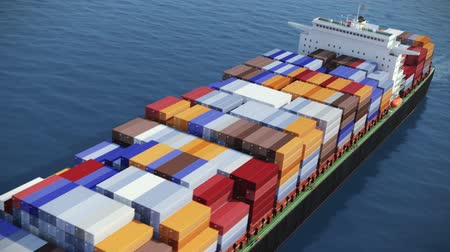 shipping : HD 1080p: Aerial shot of container ship in ocean. High quality computer generated video.