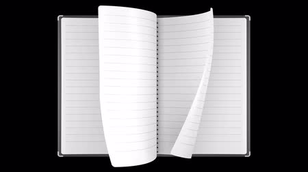 notebooklar : Loopable animation of note book page turning. Alpha channel. Stok Video