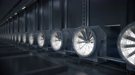 lehűlés : Cooling system for data center.   Industrial loopable background. High-quality 4K 3D rendering Stock mozgókép
