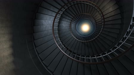 schody : Round spiral staircase.  The camera moves down to light. Seamless loop. 4k rendering.