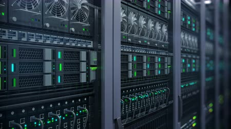 serwerownia : Servers close up view with bokeh. Modern datacenter. Cloud computing. Cryptocurrency miners.  Loopable 4k Server in a data center. 3d rendering. UHD closeup animation background