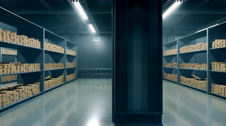 bullion : Gold bars in the Bank. Loopable animation.  Stacks of gold bars in a bank vault. 4k resolution 3D rendering.