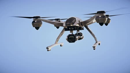 unmanned aircraft : Surveillance quadcopter drone. Chroma key included.  4K resolution 3D rendering.