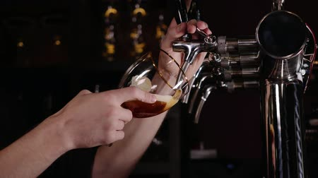 pivo : Hand of bartender pouring a large lager beer in tap in a restaurant or pub.