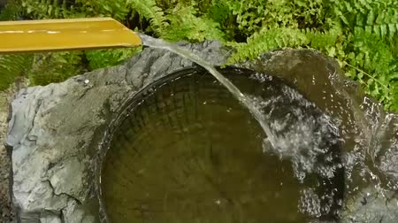 splashed : Traditional bamboo fountain of Japanese