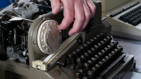 telephone handset : Old tape telex. Sending text messages at the beginning of 1930. Stock Footage