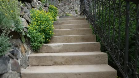 stair : Climb the stairway in the city park. Stock Footage