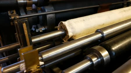 enrolado : Old printing press - Offset printing cylinders Stock Footage