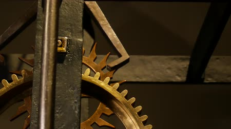 antique grunge : Old clock mechanism with gears. Stock Footage