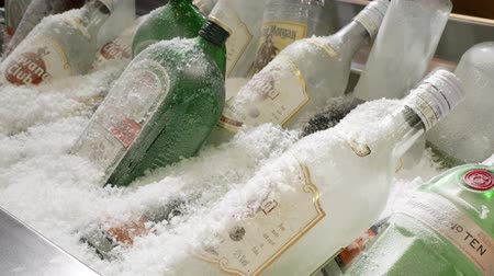 coming : Bottles of alcohol and spirits at a restaurant freezer. Bottles are cooled under ice. Stock Footage