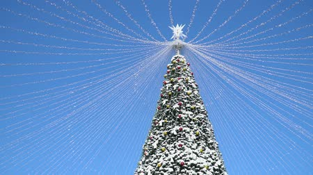 Big Outside Decorated Christmas Tree Towering into a Blue Sky on a Sunny Day with Passing White Clouds in Orlando Florida Wideo