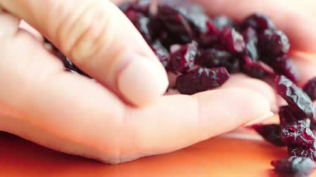 falling dried cranberries in clow motion healthy