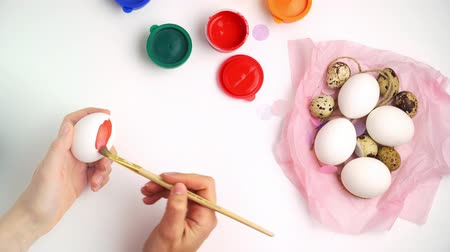 ilan : Chicken and quail eggs nest and paint on white background happy easter craft concept
