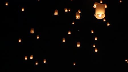 yeepeng : Floating lanterns in Yee Peng Festival, Loy Krathong celebration in Chiangmai, Thailand. Tele zoom angle view.