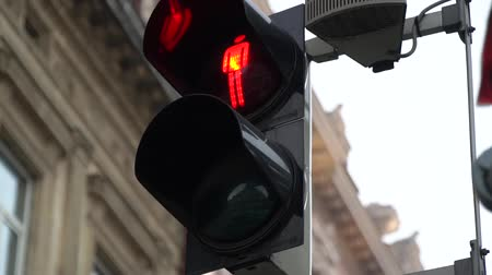 stoplight : Stoplight. Traffic lights work in a big city at a crossroads. Slow motion. Stock Footage