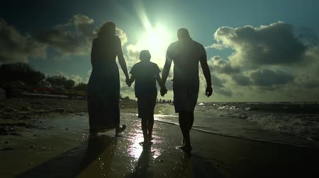 encouraging : Family walks on the beach. Parents walk with their son along the seashore. They are happy. The sun shines brightly. Silhouettes of people. Slow motion. Family happiness. Stock Footage