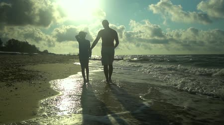 parentes : A young father walks with his son along the seashore. The sun shines brightly. They are talking. Family happiness. Trust relationship between father and son. Slow motion. Stock Footage