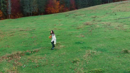 hay : Young beautiful girl having fun in the autumn forest. She holds a bunch of yellow leaves. She runs and looks at the camera. Shes happy. There is a smile on her face. Slow motion.
