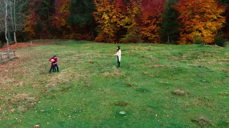 on nature : Mom and her children play with the ball in the autumn forest. They fun run and throw each other a ball. The family is happy. Outdoor activities. Slow motion. Shooting from the quadcopter.