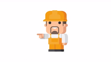indicação : Builder shows and indicates funny character. Motion graphics. Transparent background. Stock Footage